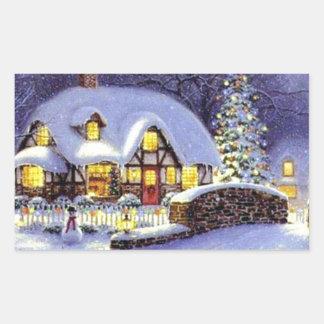 Cabaña del navidad pegatina rectangular