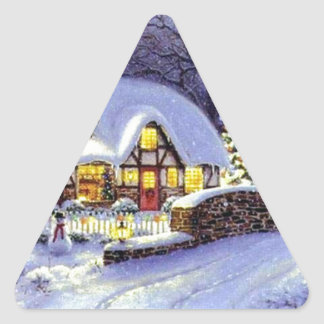 Cabaña del navidad pegatina triangular