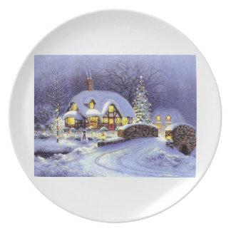 Cabaña del navidad plato