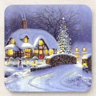 Cabaña del navidad posavasos de bebidas
