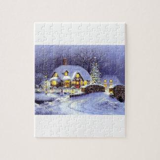 Cabaña del navidad rompecabezas con fotos