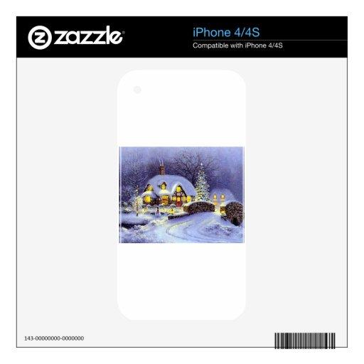 Cabaña del navidad skins para iPhone 4