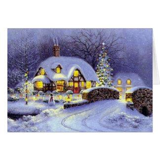 Cabaña del navidad tarjetón