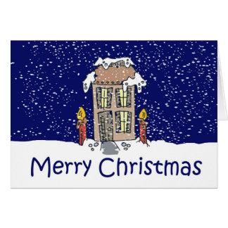 Cabaña del país de las Felices Navidad Tarjeta