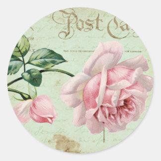 Cabaña floral elegante del vintage de los rosas pegatina redonda
