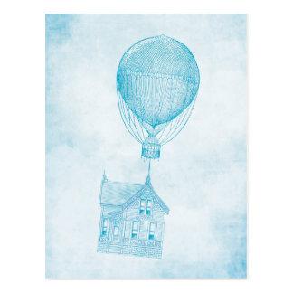 Cabaña móvil del globo del aire caliente del tarjeta postal