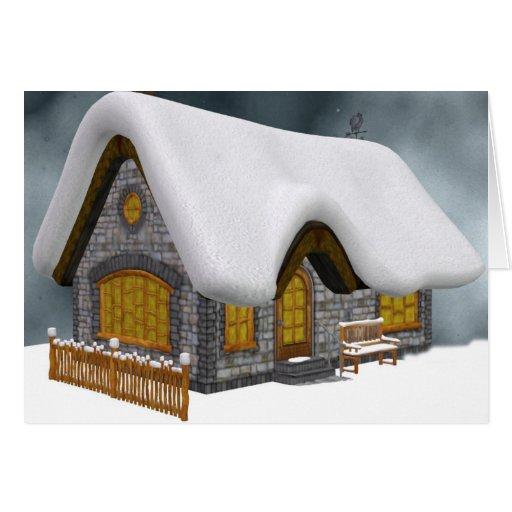 Cabaña Nevado para el navidad Tarjeton