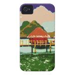 Cabaña roja ideal del pueblo Case-Mate iPhone 4 protector