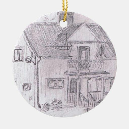 Cabaña sueca ornamento para arbol de navidad