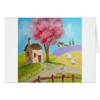 Cabaña vieja de las ovejas del ratón del paisaje d tarjeta de felicitación
