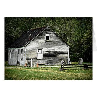 Cabaña vieja de una casa de madera tarjeta de felicitación
