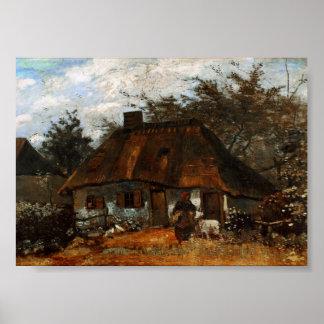 Cabaña y mujer con la cabra, Vincent van Gogh Póster