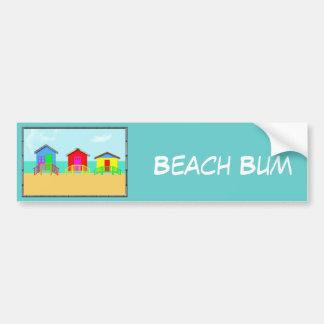 Cabañas coloridas de la playa en la línea de la pl pegatina para auto