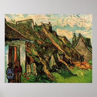 Cabañas cubiertas con paja Chaponval de la piedra  Poster