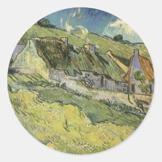 Cabañas cubiertas con paja de Vincent van Gogh Pegatina Redonda