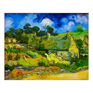 Cabañas cubiertas con paja en Cordeville Van Gogh Impresiones