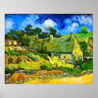 Cabañas cubiertas con paja en Cordeville (Van Gogh Póster