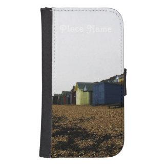Cabañas de la playa en Inglaterra meridional Fundas Tipo Cartera Para Galaxy S4