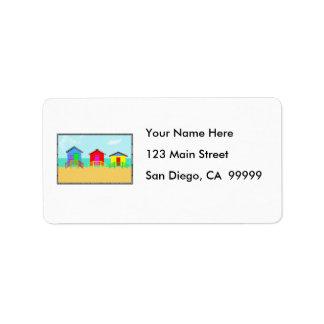 Cabañas de la playa etiqueta de dirección