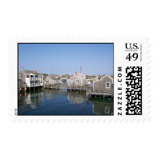 Cabañas del norte viejas del muelle timbres postales
