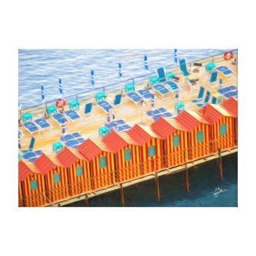 Beach Themed Cabanas of Sorrento Elegant Photo Art Canvas Print