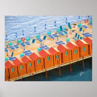 Beach Themed Cabanas of Sorrento Elegant Photo Art Poster