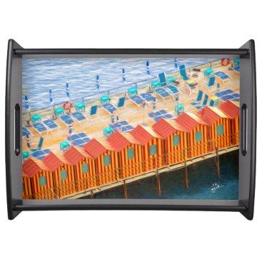 Beach Themed Cabanas of Sorrento Elegant Photo Art Serving Tray