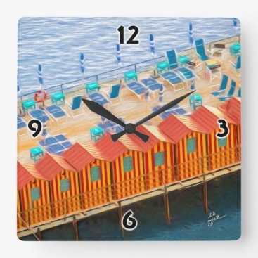 Beach Themed Cabanas of Sorrento Fine Art Square Wall Clock