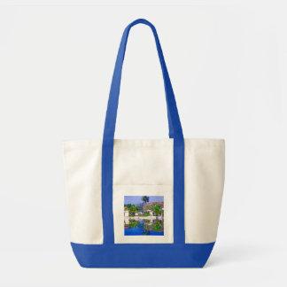 Cabañas y laguna hermosas bolsa lienzo