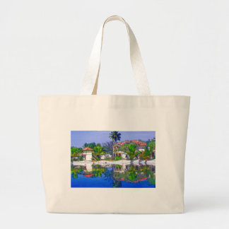 Cabañas y laguna hermosas bolsas lienzo