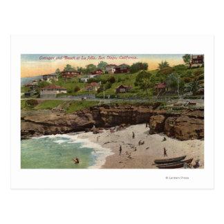 Cabañas y playa en La Jolla Tarjeta Postal