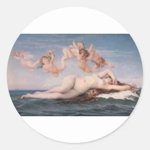 Cabanel Alejandro el nacimiento de Venus 1863 Pegatinas Redondas