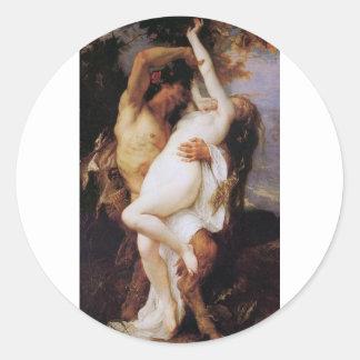 Cabanel Alejandro Nymphe y sátiro 1860 Pegatina Redonda