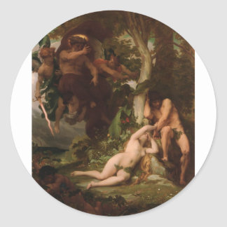 Cabanel The Expulsion of Adam and Eve from the Gar Classic Round Sticker