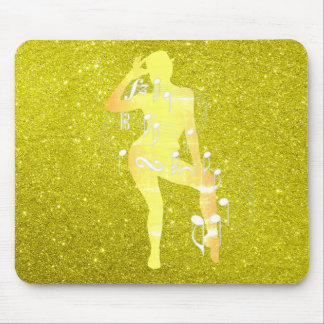 Cabaret Musical Dance Girl Glitter Mustard Yellow Mouse Pad
