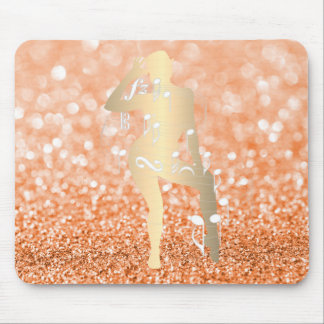 Cabaret Musical Dance Girl Glitter Orange Gold Mouse Pad