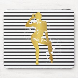 Cabaret Musical Dance Girl Stripes Black White Mouse Pad