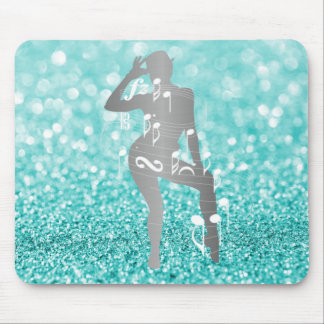 Cabaret Musical Dance Girl Tiffany Turquoise White Mouse Pad