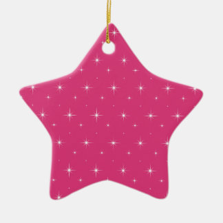 Cabaret Red Fuchsia And Bright Stars Pattern Christmas Ornaments