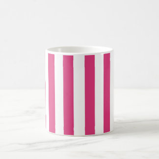 Cabaret Red Fuchsia And Vertical White Stripes Coffee Mug