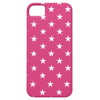 Cabaret Red Fuchsia And White Stars Pattern iPhone 5 Cases