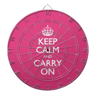 Cabaret Red Fuchsia Keep Calm And Carry On Dartboard With Darts