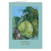 Cabbage and bunny new baby card