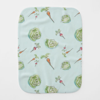 cabbage and carrots and radishes oh my burp cloth