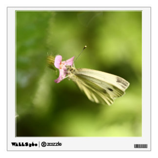 cabbage butterfly on pink wildflower wall decal