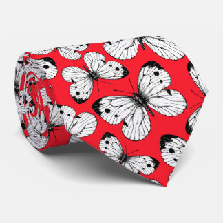 Cabbage butterfly pattern on red neck tie