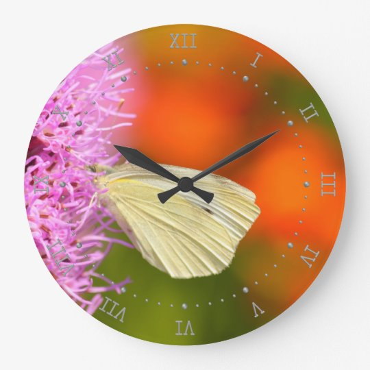cabbage butterfly with orange background large clock