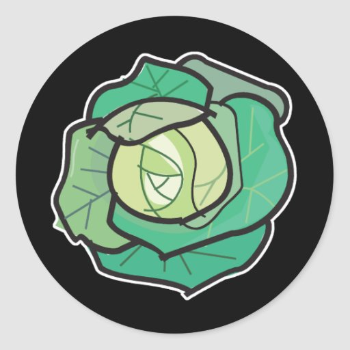 cabbage classic round sticker