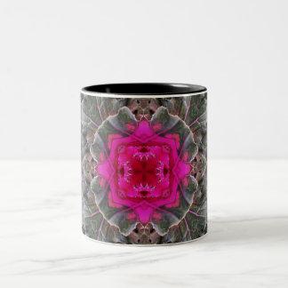 Cabbage Flower Kaleidoscope Two-Tone Coffee Mug