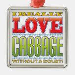 Cabbage Love Silver-Colored Square Decoration